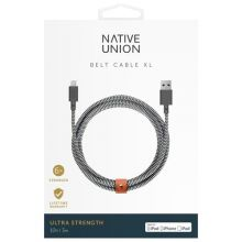 Кабель Native Union Belt XL USB - Lightning MFI 3 м (Zebra)