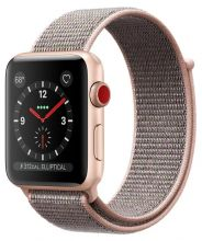 Часы Apple Watch Series 3 Cellular 38mm Aluminum Case with Sport Loop (Золотистый/Розовый песок)