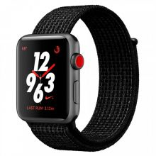 Apple Watch Series 3 Cellular 42mm Aluminum Case with Nike Sport Loop (Black/Pure Platinum)