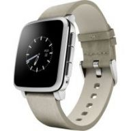 Pebble Time Steel Leather Band (White) - умные часы